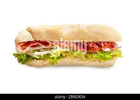 Panini from Italy with Salami, Mozzarella Cheese and Lettuce –Isolated on White Background