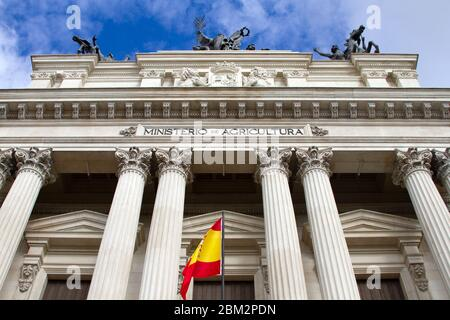 Neoclassical architecture. Facade of the Ministerio de Agricultura (Agriculture ministery) in Madrid, Spain