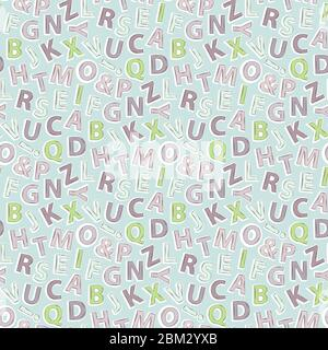 Vector seamless pattern with cartoon letters. Alphabet blue background - Stock Photo