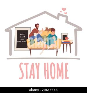 Stay home vector banner design. Man and woman sitting on sofa and play cards vector flat illustration. Quarantine and self isolation during global pandemic of Coronavirus Covid-19 poster concept.