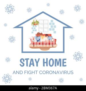 Stay home and fight Coronavirus poster template. Freelance woman in home clothes lying on comfortable sofa and working distance or surfing internet vector flat illustration. Quarantine banner design. - Stock Photo
