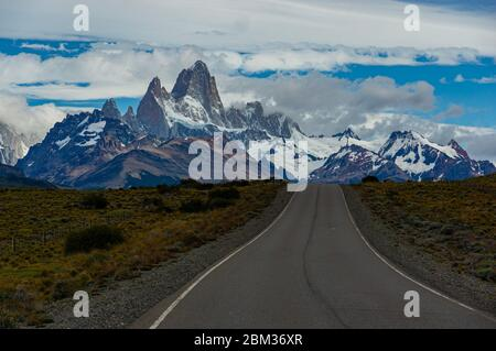 Road to El Chalten and Fitz Roy in Patagonia Argentina Snow capped mountains road trip
