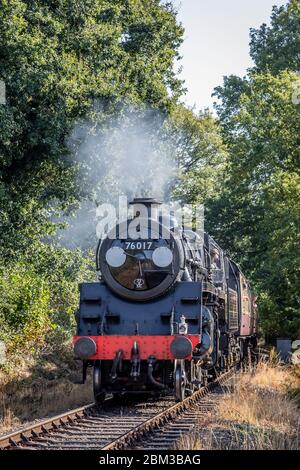 BR 2-6-0 '4MT' No. 76017 passes Northwood Lane on the Severn Valley Railway during their Autumn Steam Gala - Stock Photo