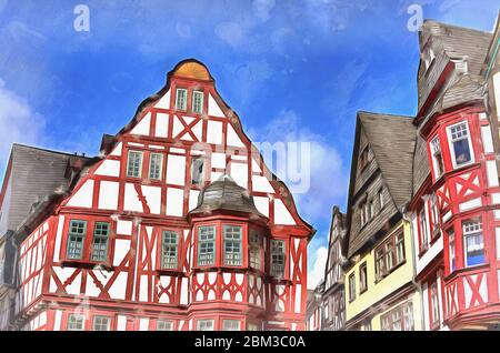 Vintage house view colorful painting looks like picture, Hesse, Germany - Stock Photo