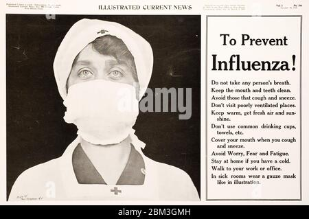 Public service newspaper ad warning the public to mask up to prevent transmission of the Spanish Flu in 1918. - Stock Photo