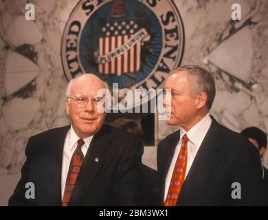 WASHINGTON, DC, USA, MARCH 3, 1998 - U.S. Senators Patrick Leahy (D-VT) left, and Orrin Hatch (R-UT) in Hart Senate Office building hearing room. - Stock Photo
