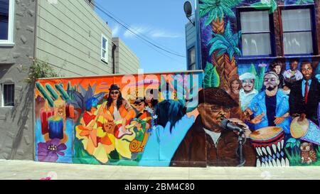 recent mural of santana music in the mission district of san francisco - Stock Photo