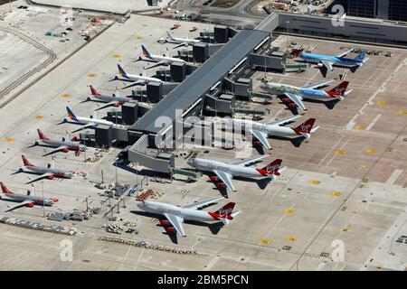aerial view of Manchester International Airport under lock-down conditions in May 2020 - Stock Photo
