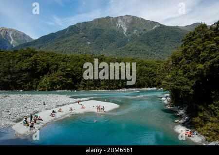 Blue Pools in Mount Aspiring National Park, New Zealand - Stock Photo