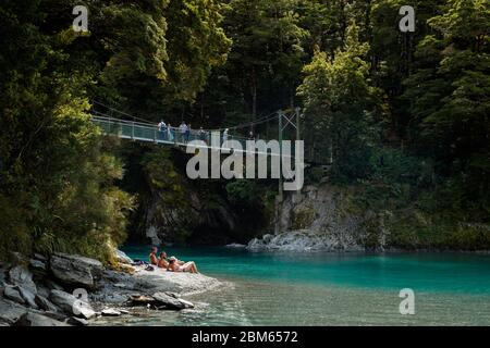 Blue Pools in Makarora River in Mount Aspiring National Park, New Zealand - Stock Photo