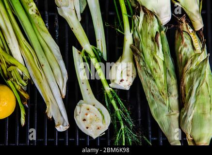Fresh grilled summer produce of fennel and lemon - Stock Photo