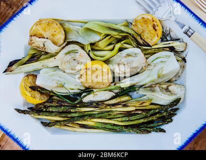 Grilled Summer vegetables of asparagus, fennel and lemon - Stock Photo