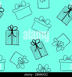 Hand drawn gift boxes seamless pattern. Vector turquoise background with sketch presents