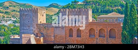 Panorama from the Watch tower, observing the Keep (Torre del Homenaje) and the Broken tower (Torre Quebrada) of Alcazaba fortress, Alhambra complex, G - Stock Photo