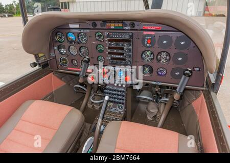 Cockpit of Croatian Air Force ZLIN 242 L basic trainer aircraft Zemunik AFB, May 17, 2008 instrument instruments panel - Stock Photo