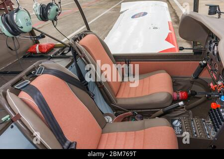 Cockpit of Croatian Air Force ZLIN 242 L basic trainer aircraft Zemunik AFB, May 17, 2008 - Stock Photo