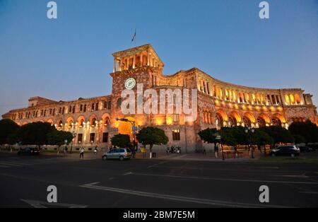 Yerevan: Republic Square, Government of the Republic of Armenia building, at twilight