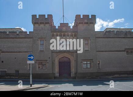 The gatehouse of the derelict East Suffolk County Hall in Ipswich, UK - Stock Photo