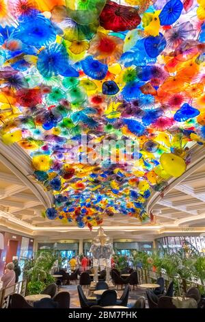 'Fiori di Como', a glass sculpture by Dale Chihuly on the lobby ceiling of the Bellagio Hotel and Casino, Las Vegas Strip, Las Vegas, Nevada, USA - Stock Photo