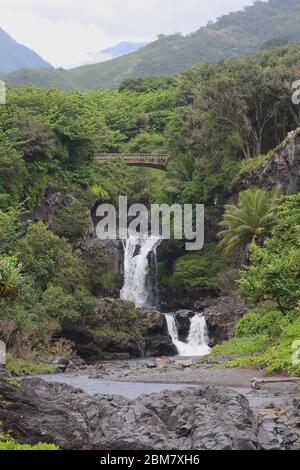 Multiple waterfall of the Palikea stream running through volcanic rock with Scaevola taccada growing on the rock at the Seven Sacred Pools in Hana, Ma