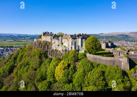 Aerial view of Stirling Castle, closed during Covid-19 lockdown in Stirling, Scotland, UK