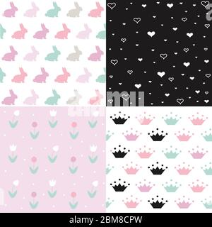 Set of cute seamless easter background patterns