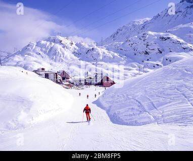 Resort view from lower ski slopes, St Christoph am Arlberg, Tyrol, Austria - Stock Photo