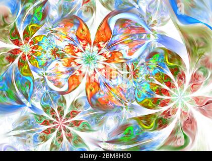 Dynamic flowing natural forms. Flowers and spirals. Mysterious psychedelic relaxation pattern. Abstract floral fractal background for art projects. - Stock Photo