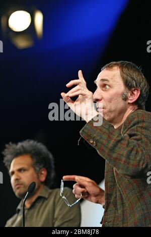 Will Self, journalist and author talks to Sarfraz Manzoor, Hay Festival the 25th May 2013. Hay-On-Wye, Powys, Wales. ©PRWPhotography - Stock Photo