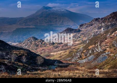 Moel Siabod from Creigiau Geuallt above Capel Curig, Snowdonia National Park, North Wales, UK - Stock Photo