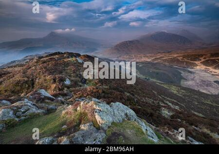 Big Skies over Crimpiau, looking to Dyffryn Mymbyr and Moel Siabod and The Glyderau, Snowdonia National Park, North Wales, UK - Stock Photo