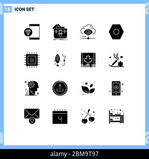 Pack of 16 creative Solid Glyphs of user interface, basic, folder, share, view Editable Vector Design Elements - Stock Photo
