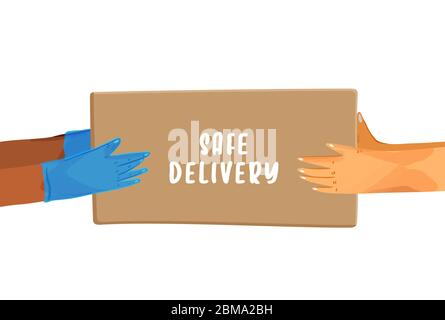 Safe delivery vector cartoon banner for Save Delivery Services and E-Commerce during covid quarantine. Hands in gloves giving a parcel, and hands - Stock Photo