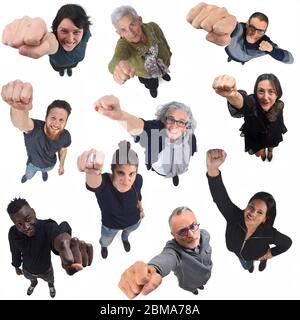 group of people with the fist up - Stock Photo