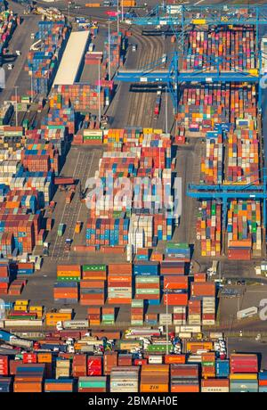 container terminal Logport I, 07.02.2020, aerial view, Germany, North Rhine-Westphalia, Ruhr Area, Duisburg - Stock Photo