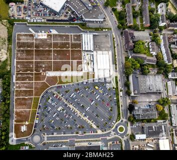 , shopping center Kronenberg Center on Haedenkampstrasse in Essen, 14.08.2017, aerial view, Germany, North Rhine-Westphalia, Ruhr Area, Essen - Stock Photo