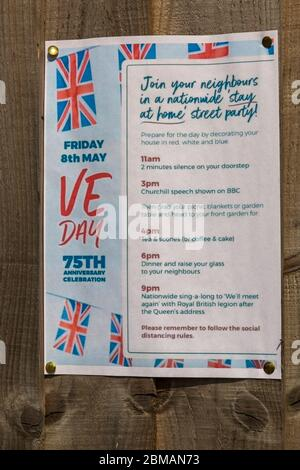 Bournemouth, Dorset UK. 8th May 2020. With organised events to celebrate VE day 75th Anniversary cancelled due to Coronavirus restrictions, council advise to hold individual street parties in your own back garden adhering to social distancing and Coronavirus restrictions. Credit: Carolyn Jenkins/Alamy Live News - Stock Photo