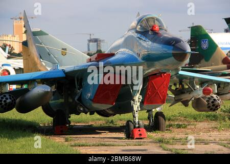 Front view of a Mikoyan MiG-29 'Fulcrum'  twin-engine air superiority jet fighter at the Zhulyany State Aviation Museum of Ukraine - Stock Photo