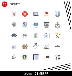 Stock Vector Icon Pack of 25 Line Signs and Symbols for medical, insurance, data, hold, stock Editable Vector Design Elements - Stock Photo