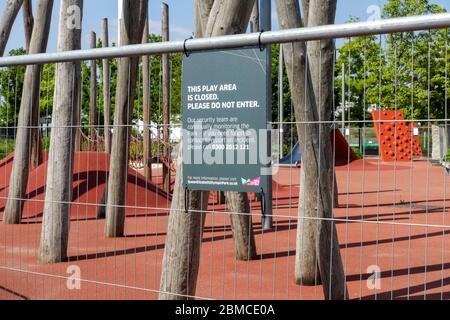 Playground area closed and cordoned off due to coronavirus outbreak, London, England United Kingdom UK