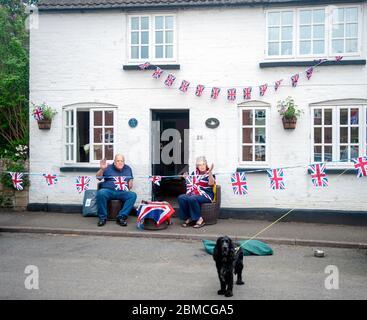 VE Day 75th anniversary celebratiuons in the village of Great Glen during Coronavirus Covid-19 pandemic lockdown - Stock Photo
