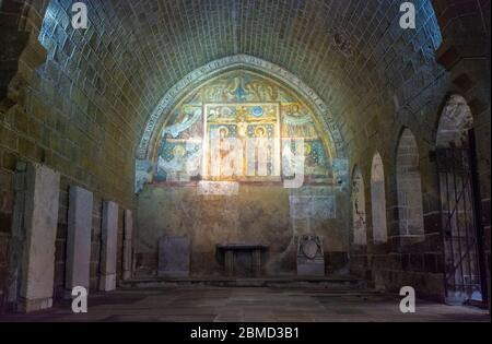 France, Le Puy-en-Velay, Notre-Dame Cathedral, a UNESCO World Heritage Site, The Cloisters, crucifixion fresco, circa early 13C - Stock Photo