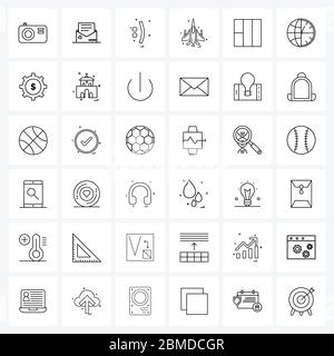 Modern Style Set of 36 line Pictograph Grid based air force, weapon, symbols, military, smiley Vector Illustration - Stock Photo