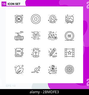 User Interface Pack of 16 Basic Outlines of transport, smart, pin, clever, picture Editable Vector Design Elements - Stock Photo