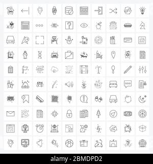 Set of 100 UI Icons and symbols for cash, sport, navigation, gym, wrist watch Vector Illustration - Stock Photo