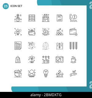 Universal Icon Symbols Group of 25 Modern Lines of graph, chart, storage, business, painting Editable Vector Design Elements - Stock Photo