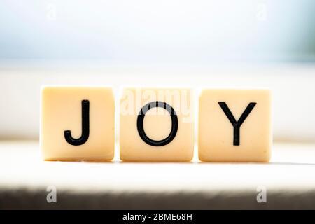 Joy in block letters