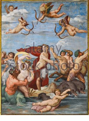 Rome, Villa Farnesina, the Loggia of Galatea: . 'The Triumph of Galatea', by Raphael (1513 - 4). Galatea was the beautiful nymph whom Raphael depicted amongst a throng of sea creatures as she speeds away from her admirer on a fantastical shell drawn by dolphins. - Stock Photo