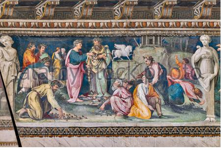 Rome, Villa Farnesina, The Hall of Perspectives: the ample frieze with mythological scenes. Detail of the Parnassus, with Pegasus and Poets. Frescoes by Baldassarre Peruzzi and workshop (1517-18). - Stock Photo