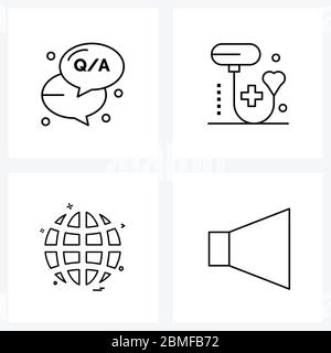 Set of 4 Simple Line Icons of question, globe, blood, healthcare, browser Vector Illustration - Stock Photo